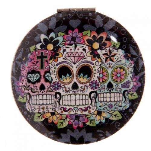 TÊTE DE MORT MEXICAINE Miroir de poche - Rond Noir