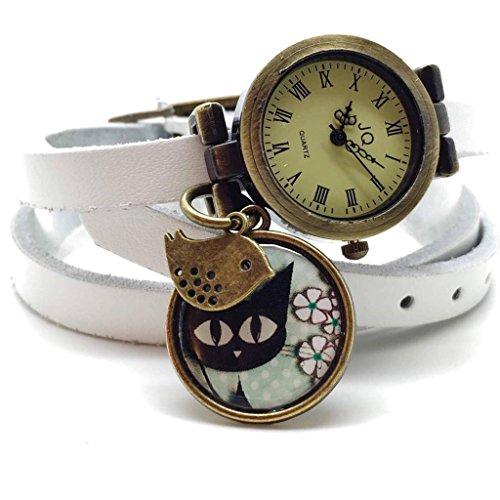 """montre cuir, montre bracelet en cuir blanc, montre multirangs, montre 3 tours de poignet, montre breloques et cabochon vintage """"le chat et l'oiseau"""" - cadeau noel, cadeau femme, cadeau saint valentin, idée cadeau"""