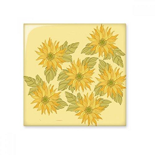 HANDBEMALT Blume Pflanze Sonnenblume Greenery glänzend Keramik Fliesen Badezimmer Küche Wand Stein Dekoration Craft Geschenk Small