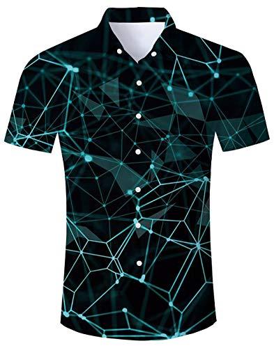 Hawaii Hochzeit Shirts (Hemd für Herren Kurzarm Hawaii Shirts Druck Freizeit Hochzeit Strandhemd Hawaiihemd Shirts für Männer XL)