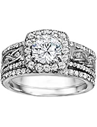 Silvernshine 14k White Gold Plated Alloy Bridal Wedding Engagement Ring In White Diamond CZ