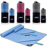 Mikrofaser Reisehandtuch 2 Stück(1 Badetuch 152x80 cm & 1 Hand Gesichtshandtuch - 80x38 cm),Schneller trocknender, saugfähiger Travel Handtuch für Sport, Backpacking, Strand, Dusche, Yoga (blue)