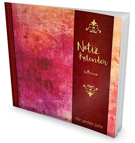 GOCKLER® Notiz-Kalender: Universaler Tagebuch-Kalender || 1 Zeile pro Tag + Notizseiten + Glänzendes Softcover || Ideal für Geburtstage, To Do's & Termine || DesignArt.: Schönes Rot