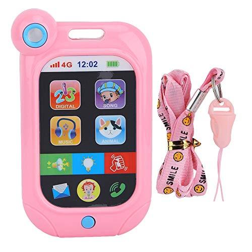 Kid Smartphone Spielzeug Baby frühen pädagogischen Lernens Handy mit Musik spielen Tierzahl Studie Spielzeug mit hängenden Seil(Rosa) Digital Mobile Handy