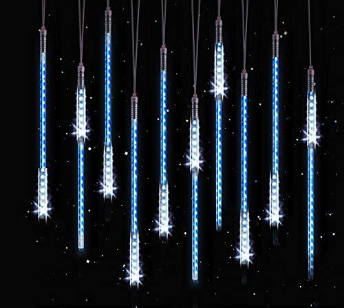 10 tubes 50cm luci di pioggia hqqnuo luci led meteor impermeabile luci di natale per esterni, giardino, alberi di natale - blu