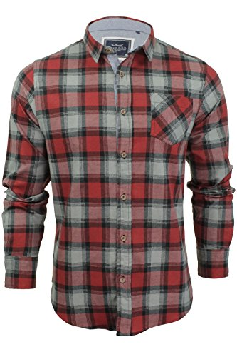 Brave Soul da uomo jackd Camicia a quadretti Design Chambray dettagli cotone top Garfield - Red Large
