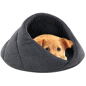 ODJOY-FAN Weich Vlies Winter Warm Haustier Hund Bett Klein Hund Katze Schlafen Tasche Hündchen Höhle Betten Käfige Hütten Höhlen Hundehütten Kleintierbetten(Grau,M)
