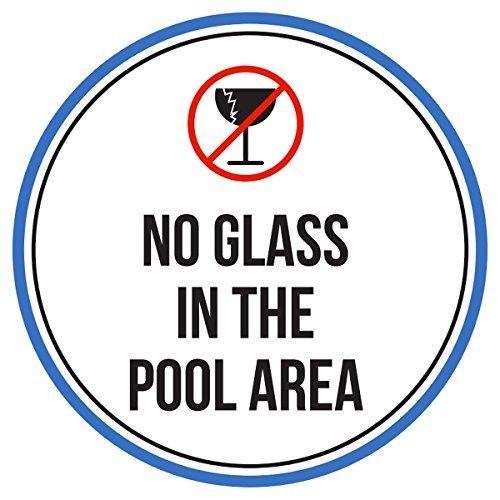 Maureen52Dorothy kein Glas in The Swimming Pool-Bereich Spa Warnschilder Sticker Funny gewerblichen Safety Signs Aufkleber Rund Vinyl Hinweis Schild Aufkleber 22,9x 22,9cm