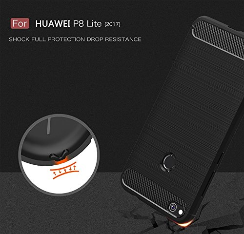 EKINHUI Case Cover Dünn und Leightweight Brushed Carbon Fibre Robuste Rüstung Back Cover Stoßstange Fall Shockproof Drop Resistance Shell Cover für Huawei P8 lite 2017 ( Color : Green ) Gray