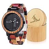 Bobo Bird Orologio da uomo in legno colorato, analogico al quarzo, display con settimana e data, orologio sportivo e casual da polso con cofanetto regalo (grande da uomo).