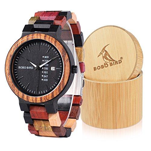 Bobo uccello donna uomo colorato in legno orologi legno analogico al quarzo settimana data Display dell' orologio a mano sport casual con scatola regalo (grande per gli uomini)