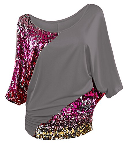SMITHROAD Damen T-Shirt mit Pailletten Applikationen Fledermaus Shrit Top Kurzarm Dehnbar Rundhalsausschnitt Loose Fit 02 Grau