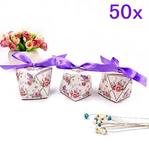 Gastgeschenk Boxen mit bändern, Süßigkeiten Schachtel für Hochzeit Geburtstag Weihnachten Babyparty Taufe Garten Party Kinderparty, lila (Süßigkeiten Taschen Für Baby-dusche)