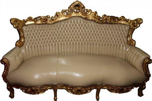Barock 3er Sofa Master Creme Lederoptik/Gold - Antik Stil Möbel
