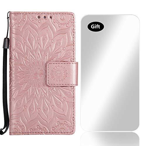 LG K10 2018 Hülle, Bear Village® Leder PU Cover Magnet Filp Brieftasche Schutzhülle mit Kostenlos Schutzfilm aus Gehärtetem Glas für LG K10 2018 (#8 Rose Gold)