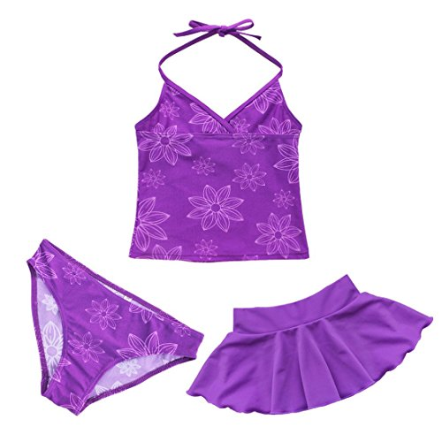 YiZYiF Mädchen Bikini Badeanzug Schwimmanzug Tankini Set Badebekleidung Top + Rock mit Slips (104-110, 3tlg. Set mit Lila Rock), XL (Top Tankini Badeanzug)