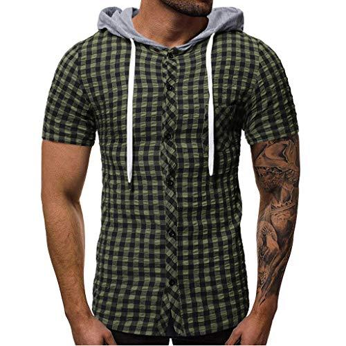 Herren Sommer mit Kapuze Pocket Button Kurzarm Kariertes T-Shirt Top Weste Bluse Zolimx