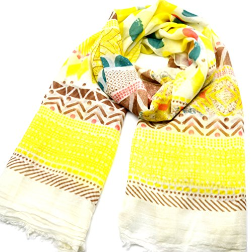 PSV74 - Foulard Long Printemps Eté Assortiment Motifs Ethnique Art Style Aquarelle - Mode Femme Jaune