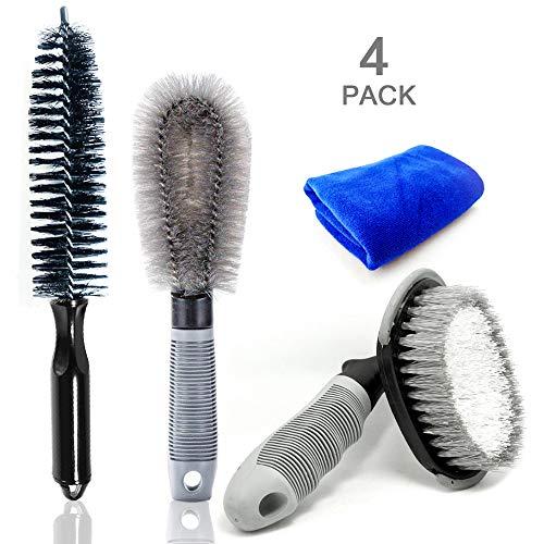LJNH Set di spazzole per la Pulizia delle Ruote dell'Auto, per la Pulizia di Cerchi in Lega e Pneumatici, pulisci Cerchioni per Auto, Moto o Biciclette (Confezione da 4)