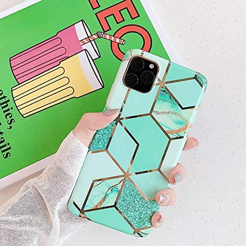 Herbests Kompatibel mit iPhone 11 Pro Handyhülle Marmor Matt Marble Muster Schutzhülle Dünn Handytasche Glitzer Glänzend Ultradünn Transparent Durchsichtige Silikon Hülle Case,Grün