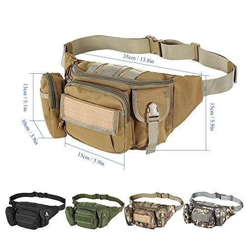 Lixada Outdoor Portable Taille Fanny Pack Reise Taille Tasche Beutel für Radfahren Camping Wandern Jagd Angeln Schlammfarbe