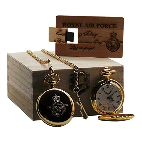Goldene Taschenuhr mit USB-Speicherkarte aus Holz, luxuriös, graviert / verziert, Royal Air Force / militärisch China Tankard