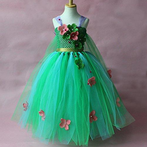 n Snow Princess-Blume Ärmelloses Kleid Kostüm, Cosplay Halloween Geburtstag Party Kleid Fancy Kleid (Snow Princess Halloween-kostüme)