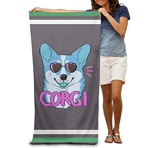 ASKSWF Badetuch-Funny Cute Hipster Corgi Dog Bath Towels Beach Towels Washcloths Adults Soft Absorbent