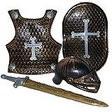 Karnevalsbud - Ritterausrüstung Holz Optik Schwert Brustpanzer Kreuz Schild Visier, 104-122, 4-7 Jahre, Silber