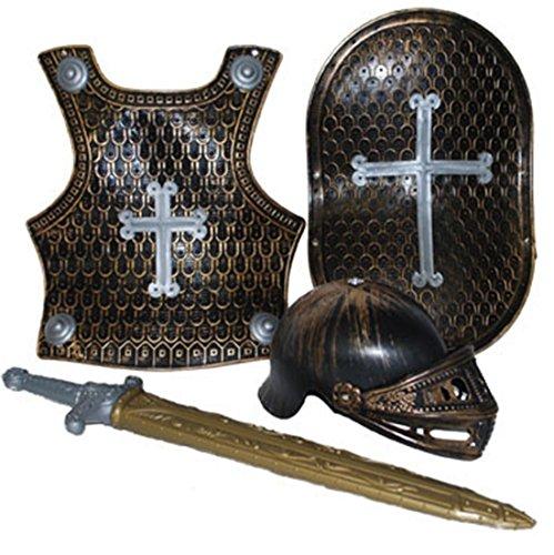 rausrüstung Holz Optik Schwert Brustpanzer Kreuz Schild Visier, 104-122, 4-7 Jahre, Silber (Männer Dienstmädchen-kostüm)