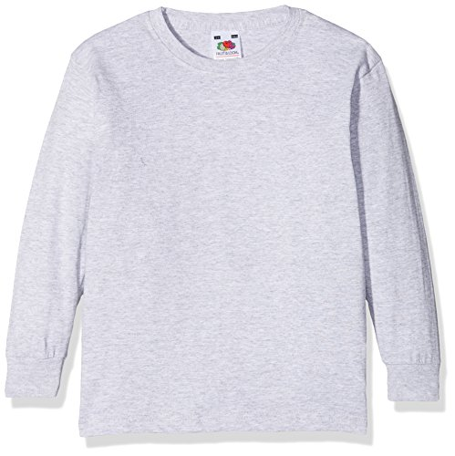 Fruit of the loom Jungen Langarmshirt Valueweight Long Sleeve T Kids, Grau (Heather Grey 123), 164