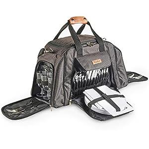 VonShef Graue Deluxe Picknick-Tasche mit hochwertiger Oberfläche für 6 Personen – Enthält 41-teiliges Essgeschirr…