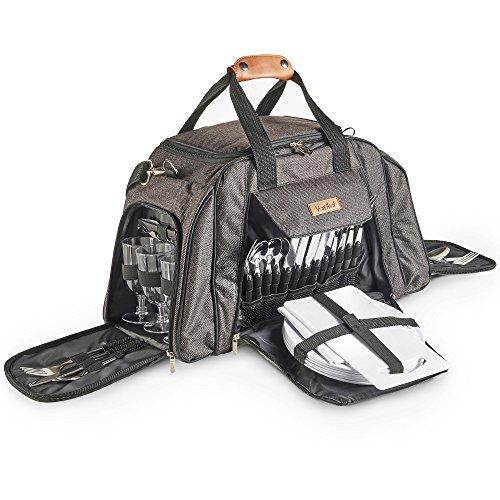 VonShef Graue Deluxe Picknick-Tasche mit hochwertiger Oberfläche für 6 Personen – Enthält 41-teiliges Essgeschirr & Kühlfach