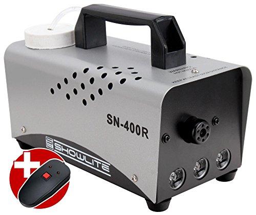Showlite SN-400R LED Nebelmaschine rot 400W mit Fernbedienung (Intergrierter Flame Lichteffekt, 8 Minuten Aufwärmzeit, 56 m³/min Nebelausstoß, 3,5 m Sprühdistanz, 3 LEDs) silber