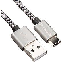 Onite Durable trenzado Tipo C a USB 2.0 Data Sync Cable cargador para Samsung Galaxy S8, S8 +, A3 A5 A7 (2017), LG G5 G6, Huawei P9 P10 Plus, Moto Z (Gris-Negro)