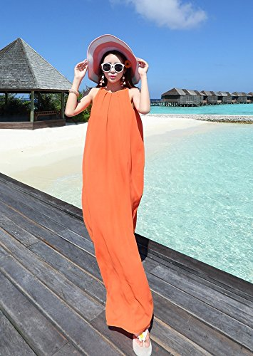 Bigood Robe Eté Femme Mousseline de Soie Sans Manche Longue Vacances Orange