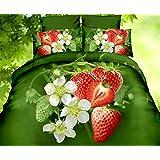 155x200 3D Bettwäsche Bettbezüge Bettwäschegarnituren Bettwäscheset Microfaser 3tlg schöne Farben und Muster Erdbeere FPP 24