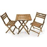 JOM Sitzgruppe Balkonset, 1x Tisch, 2x Stühle, Material Akazienholz geölt, Maße Tisch 60 x 60 x 72 cm, Stuhl 45 x 85 x 35,5 cm, klappbar, braun