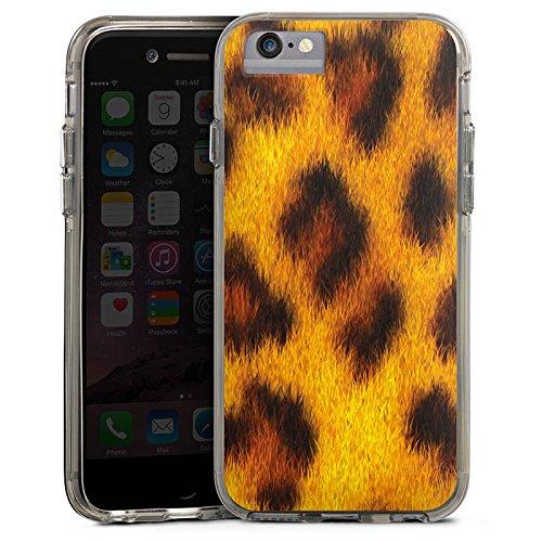 Apple iPhone X Bumper Hülle Bumper Case Glitzer Hülle Leopard Look Fell Animals Bumper Case transparent grau