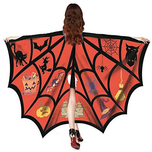 WOZOW Damen Schmetterlingsflügel Faschingkostüme Poncho Schal Tuch Umhang Nymphe Pixie für Party Cosplay Karneval Fasching (Dunkelorange)