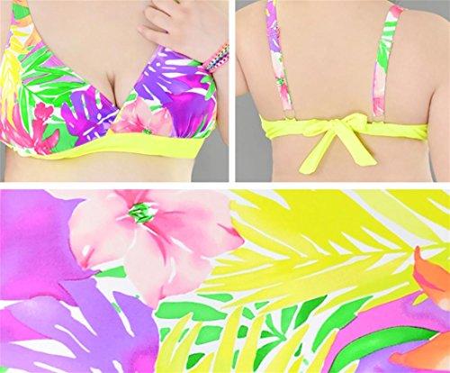 SHISHANG Große Bikini Badeanzug Damen Bademode Europa und den Vereinigten Staaten schnelltrocknend hoch-elastischen fetten Mädchen große Größe Badeanzug Multi-Color-Wahl yellow flowers