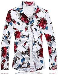 c50bdd9eea4d3 Camisas De Manga Larga para Hombre Primavera Y Otoño Flor Triturada  Camisetas De Manga Larga Personalidad