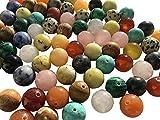 Set 75 Stück Mix große Halbedelsteine Perlen 12mm Schmucksteine Edelsteine Steinperlen Heilsteine Halbedelsteinperlen Bastelperlen Onyx Tiger Auge Schmuckperlen von CRYSTAL KING