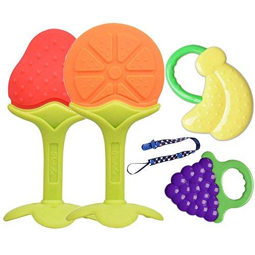 4er Baby Zahnen Beißringe Silikon-Zehne Beißring mit Schnuller Clip für Säugling BPA Frei Früchte Teether Set