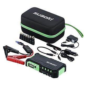 Suaoki G7 – Jump Starter 18000mAh, 600A arrancador emergencia para coche (vehículo de gas o diesel con bateria 12V, linterna LED, USB puertos 12V/16V/19V cargador batería externa, para smartphone, tablet)