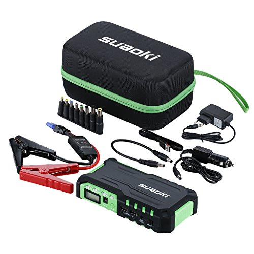 SUAOKI G7 Jump Starter 600A Corrente di Picco 18,000mAh Avviatore di Emergenza Auto, Torcia a LED Incorporata, Porte USB 12V/16V/19V, Come Caricabatteria per Cellulare Tablet, Verde