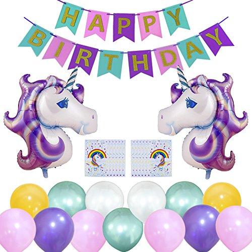 WonderforU Einhorn Geburtstag Party Dekoration Happy Birthday, Geburtstagsparty Banner 30 pcs Luftballons + 12 Beute Partytüten, Geschenk für Mädchen