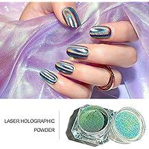 Polvo de uñas con purpurina súper fino chapado en polvo para manicura de uñas con efecto