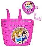 Unbekannt 2 TLG. Set: Fahrradkorb / Korb + Fahrradklingel - Disney Princess - Prinzessin - incl. Namen - mit Befestigung für Lenker vorn - Fahrrad Prinzessinnen - rosa ..