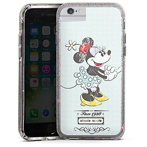 Apple iPhone 6 Bumper Hülle Bumper Case Glitzer Hülle Disney Minnie Mouse Vintage Geschenke Merchandise Bumper Case Glitzer rose gold